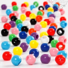 Pony Beads, D: 6 mm, hole size 3 mm, 75 g, 125ml