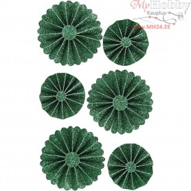 Paper Rosettes, D: 35+50 mm, green glitter, 6pcs