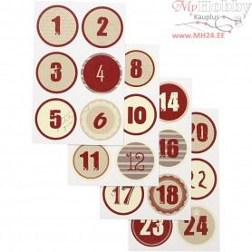 Christmas calendar number stickers, D: 4 cm, sheet 9x14 cm, 4mixed sheets