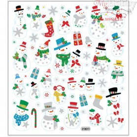 Fancy Glitter Stickers, sheet 15x16,5 cm, approx. 60 pc, snowmen, 1sheet