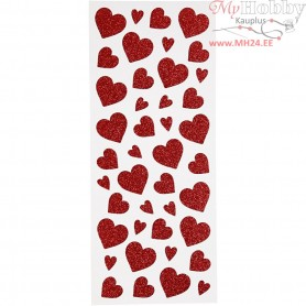 Glitter Stickers, sheet 10x24 cm, approx. 84 pc, red, hearts, 2sheets