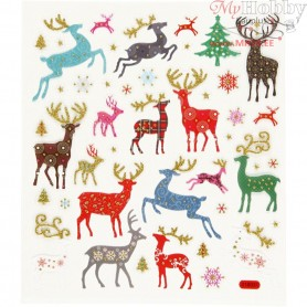 Fancy Glitter Stickers, sheet 15x16,5 cm, approx. 44 pc, reindeer, 1sheet