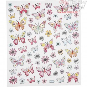 Fancy Stickers, sheet 15x16,5 cm, Butterflies, 1sheet