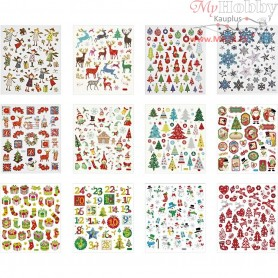 Sticker Book, sheet 15x16,5 cm, approx. 584 pc, christmas, 12mixed sheets