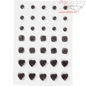 Rhinestones, size 6+8+10 mm, black, round, square, heart, 35pcs