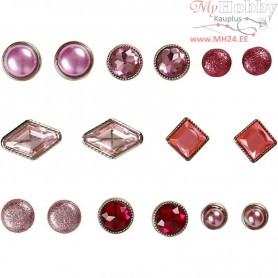 Deco Rivets, size 8-18 mm, pink, 16mixed