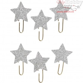 Metal Paperclips, D: 30 mm, silver glitter, star, 6pcs