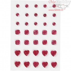 Rhinestones, size 6+8+10 mm, pink, round, square, heart, 35pcs