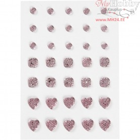 Rhinestones, size 6+8+10 mm, rose, round, square, heart, 35pcs