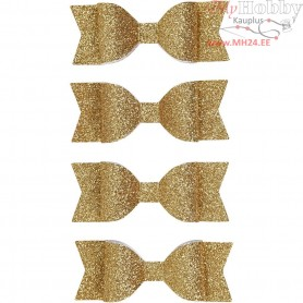 Paper Bow, size 31x85 mm, gold glitter, 4pcs