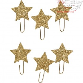 Metal Paperclips, D: 30 mm, gold glitter, star, 6pcs
