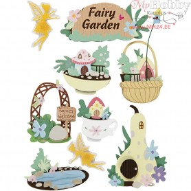 3D Stickers, H: 32-64 mm, W: 30-55 mm, fairy-garden, 9pcs, thickness 7 mm