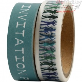 Washi Tape, turquoise, W: 15 mm, 2x5m