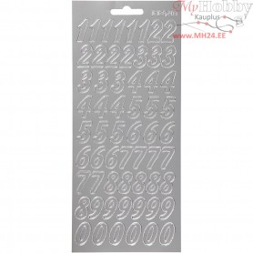 Stickers, sheet 10x23 cm, silver, numbers, 1sheet