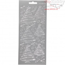 Stickers, sheet 10x23 cm, silver, Christmas trees, 1sheet