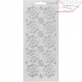 Stickers, sheet 10x23 cm, silver, snowflakes, 1sheet