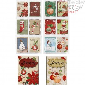 Stickers, size 25x33 mm, christmas, 36mixed