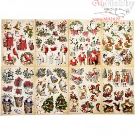3D Decoupage Tags, size 21x30 cm, christmas, 16mixed sheets