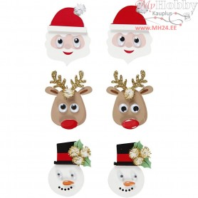 3D Stickers, H: 40-45 mm, W: 26-35 mm, christmas figurs, 6pcs, thickness 10 mm