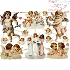 Vintage Die-Cuts, sheet 16,5x23,5 cm, large angels, 3sheets