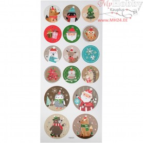 Stickers, sheet 10x23 cm, approx. 16 pc, christmas, 1sheet
