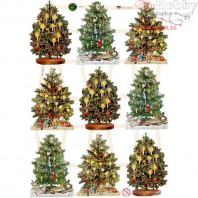 Vintage Die-Cuts, sheet 16,5x23,5 cm, christmas tree, 3sheets
