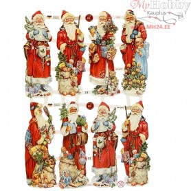 Vintage Die-Cuts, sheet 16,5x23,5 cm, santa claus, 3sheets