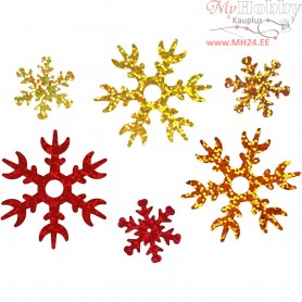 Sequins, D: 25+45 mm, gold, copper, red, snowflake, 30g
