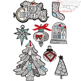 3D Stickers, H: 32-80 mm, W: 25-65 mm, christmas motifs, 8pcs