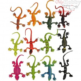 Lizards, L: 7 cm, asstd colours, 66mixed