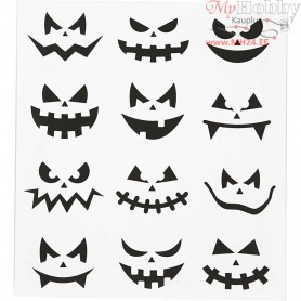 Motif Stickers, sheet 15x16,5 cm, halloween - small faces, 1sheet