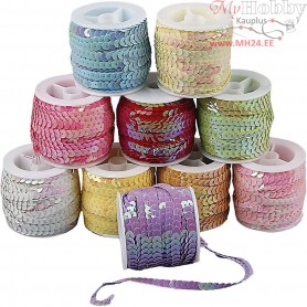 Sequined Ribbon, W: 6 mm, mother of pearl colours, 10x10m