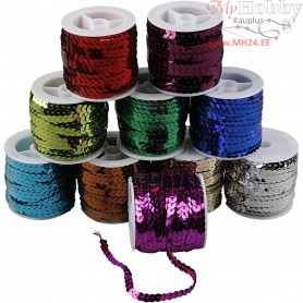 Sequined Ribbon, W: 6 mm, metallic colours, 10x10m