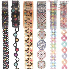 Lace Washi Tape, W: 10-15 mm, 6x5m
