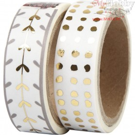 Washi Tape, W: 15 mm, white, gold, hearts and dots - foil, 2x4m