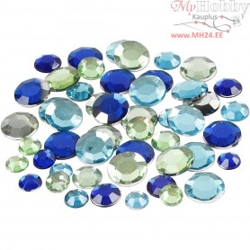 Rhinestones, size 6+9+12 mm, blue/green harmony, round, 360mixed