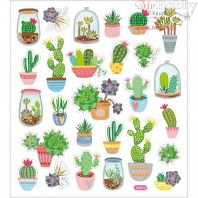 Stickers, sheet 15x16,5 cm, approx. 27 pc, cactus, 1sheet