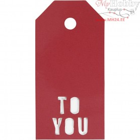 Manilla Tags, size 5x10 cm,  300 g, red, TO YOU, 15pcs