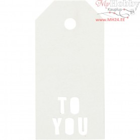Manilla Tags, size 5x10 cm,  300 g, white, TO YOU, 15pcs