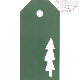 Manilla Tags, size 5x10 cm,  300 g, green, christmas tree, 15pcs