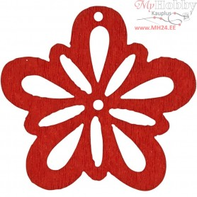 Flower, red, D: 27 mm, thickness 1,7 mm, 20pcs