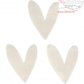 Sequins, off-white, size 15x17 mm, Heart, 10g