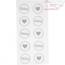 Stickers, black, sheet 7,8x15,5 cm, D: 25 mm, Heart - Wedding, 2mixed sheets