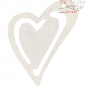 Heart, off-white, size 55x45 mm, thickness 2 mm, 10pcs