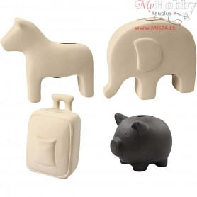 Money Boxes, H: 10-16 cm, 32pcs