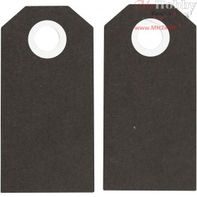 Manilla Tags, black, size 6x3 cm,  250 g, 20pcs