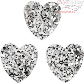 Sequins, silver, size 15 mm, hearts, 10g