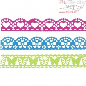 Paper Lace Borders, W: 15 mm, blue, green, fuchsia, 3x2m