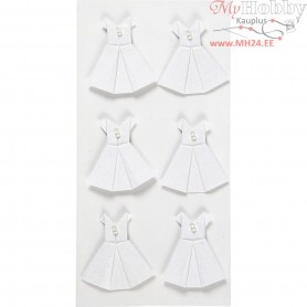 Stickers, white, size 35x31 mm, dress, 6pcs
