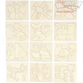 Jigsaw Puzzle, size 12,5x14,5 cm, thickness 4 mm, plywood, 12pcs